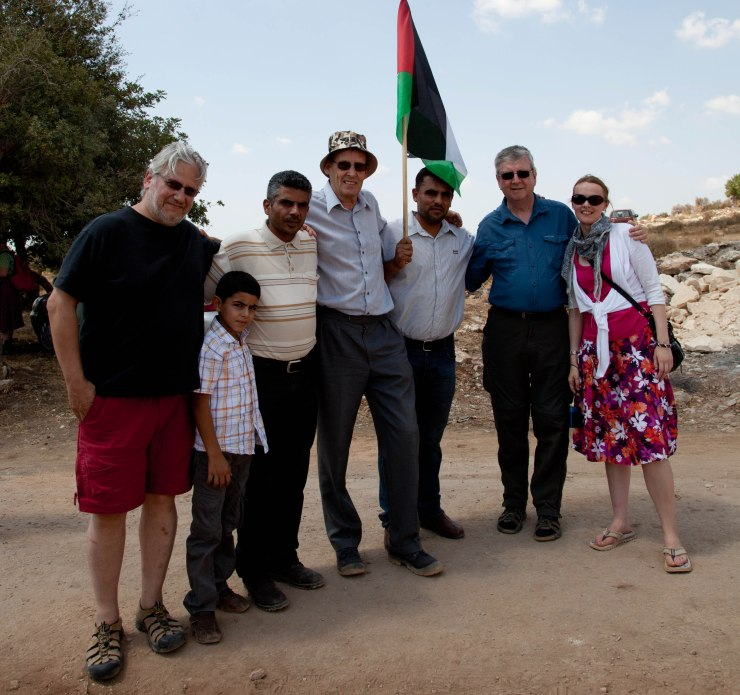 Cat Smith and Jon Lansman with group meeting Iyad Burnat and family in Palestine
